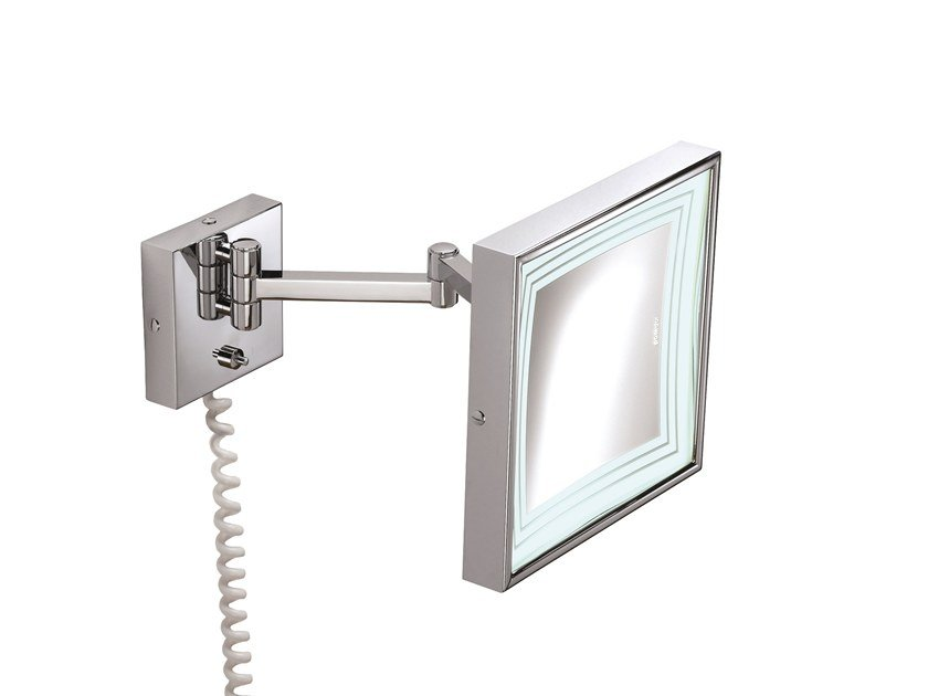 Rectangular wall-mounted shaving mirror with integrated lighting ILLUSION 908252002 | Shaving mirror by pomd'or