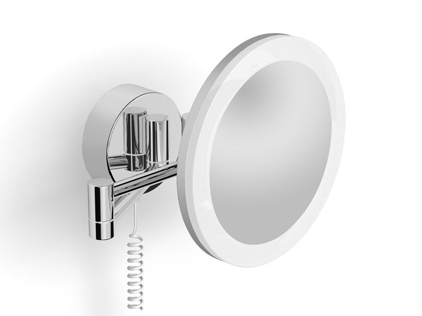 Round wall-mounted shaving mirror with integrated lighting ILLUSION 908253002 | Shaving mirror by pomd'or