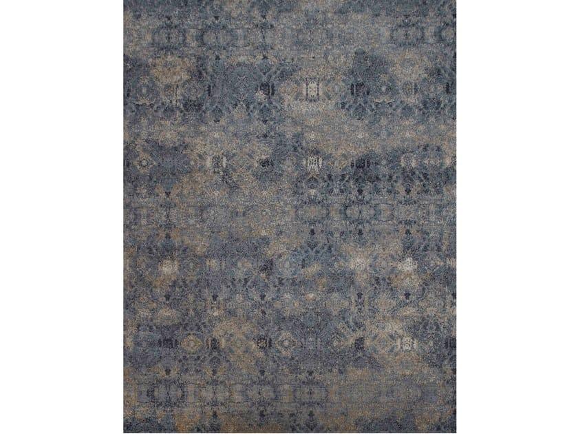 Handmade rectangular rug ILLUSION BLUE SAND by EBRU