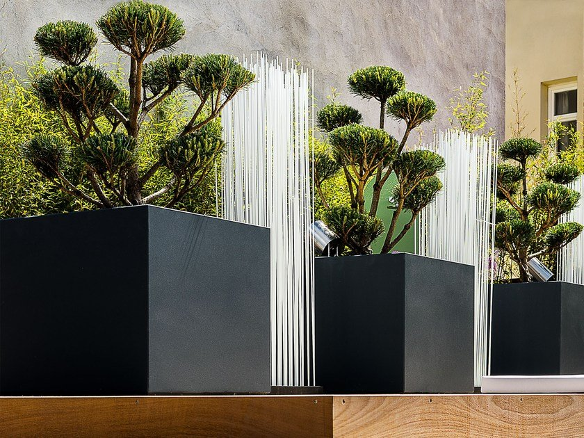 High square fiber cement planter IMAGE'IN PLANTERS ON ROOFTOP by IMAGE'IN