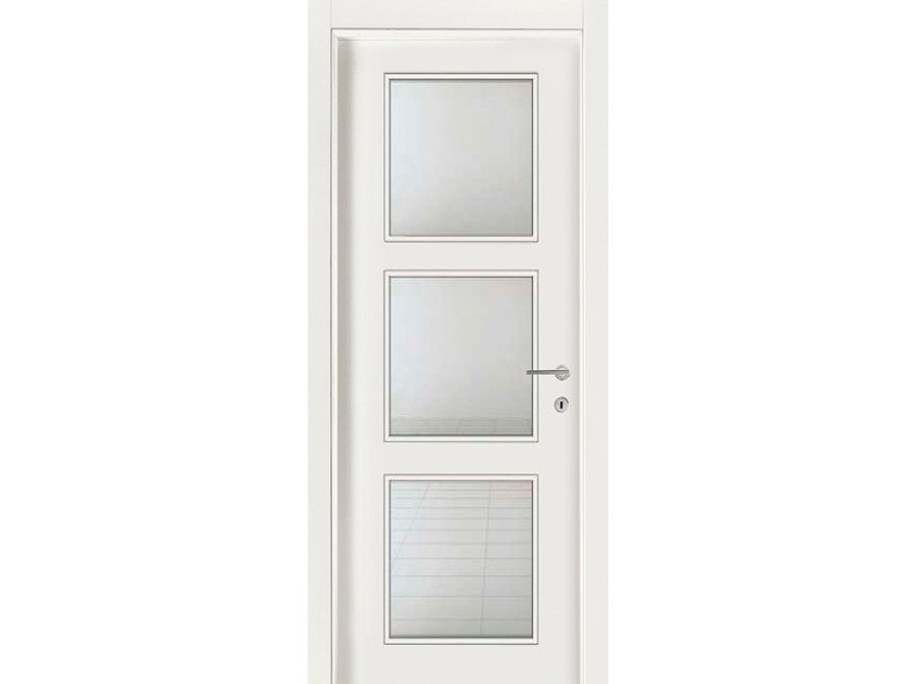 Hinged wood and glass door IMAGO 583IV3 FRASSINO BIANCO INCISO by GD DORIGO