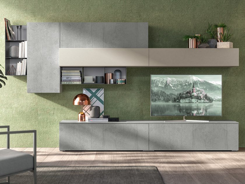 Sectional lacquered storage wall IMMAGINA PLUS HEAD LIVING B by Cucine Lube