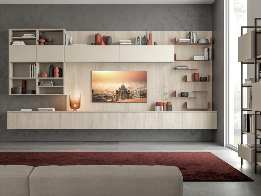 Sectional wall-mounted lacquered storage wall IMMAGINA PLUS LUX LIVING C by Cucine Lube