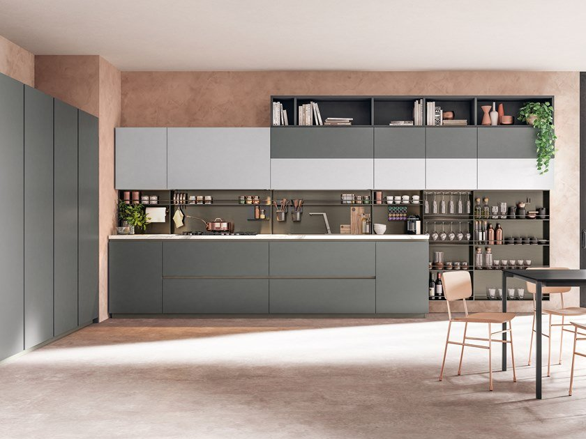 Lacquered linear fitted kitchen IMMAGINA PLUS NECK 1 by Cucine Lube