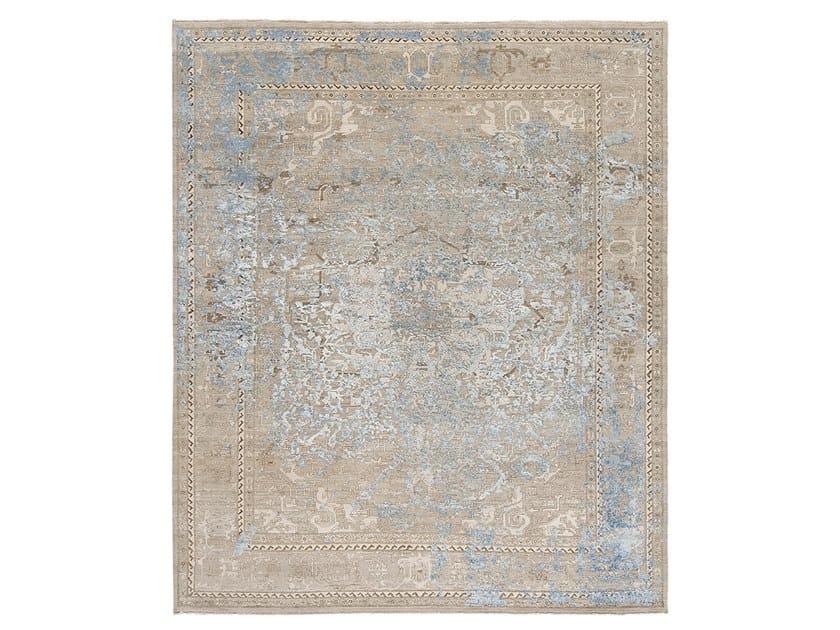 Handmade custom rug IMMERSIVE GOLDEN ORCHID BROWN BLUE by Thibault Van Renne