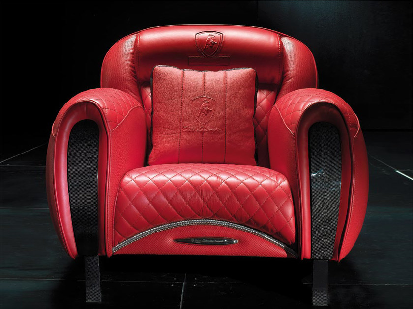Upholstered leather armchair with armrests IMOLA CARBON | Armchair by Tonino Lamborghini Casa