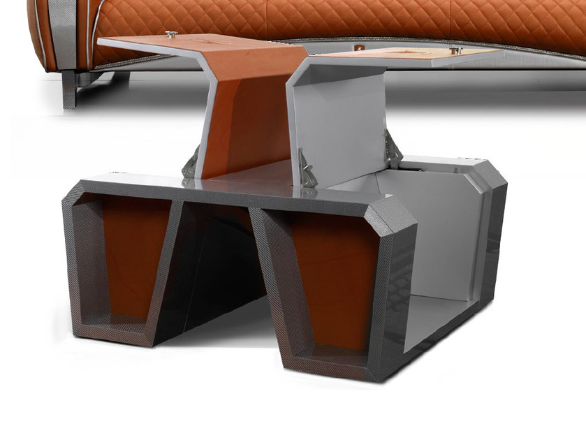 Low Alutex coffee table with storage space IMOLA CARBON 2012 | Coffee table by Tonino Lamborghini Casa