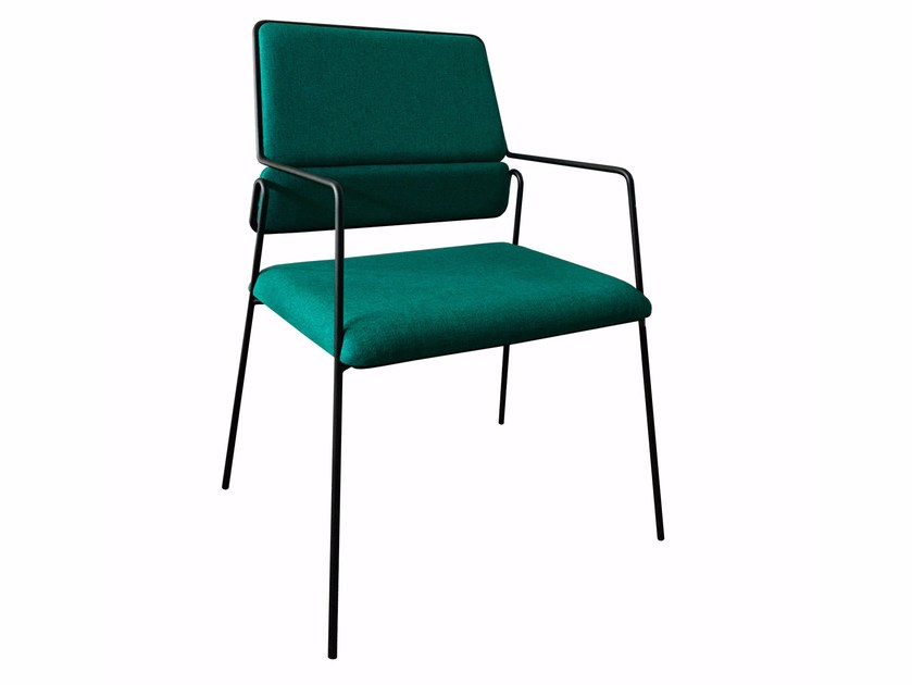 Upholstered fabric chair with armrests IMPALA© | Chair with armrests by AIRBORNE