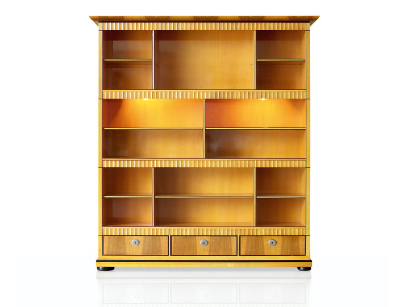 Open bookcase with built-in lights IMPERO by ROSSATO ARREDAMENTI