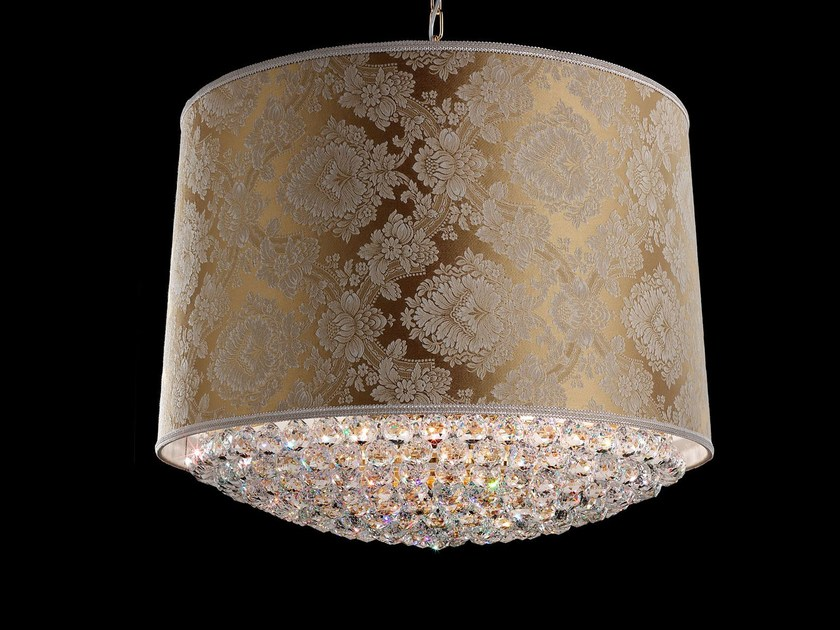 Direct light incandescent fabric pendant lamp with crystals IMPERO VE 1180 | Pendant lamp by Masiero