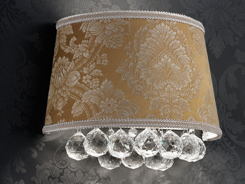 Direct light incandescent fabric wall light with crystals IMPERO VE 1180 | Wall light by Masiero