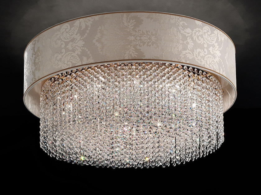 Direct light incandescent fabric ceiling lamp with crystals IMPERO VE 1186 | Ceiling lamp by Masiero