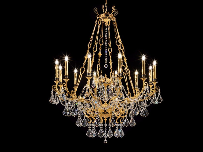 Direct light incandescent metal chandelier with crystals IMPERO VE 780 | Chandelier by Masiero