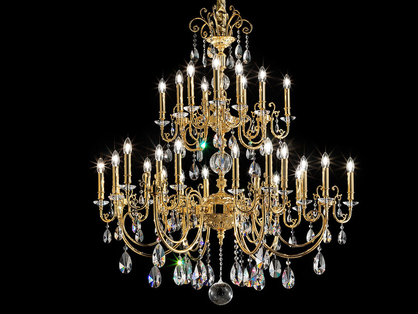 Direct light incandescent metal chandelier with crystals IMPERO VE 784 | Chandelier by Masiero