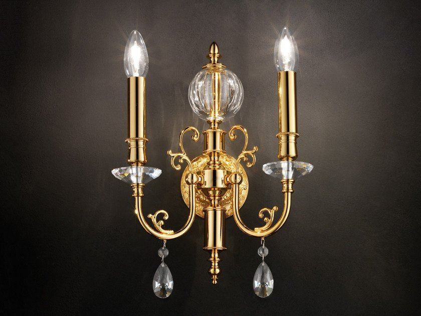 Direct light incandescent metal wall light with crystals IMPERO VE 784 | Wall light by Masiero