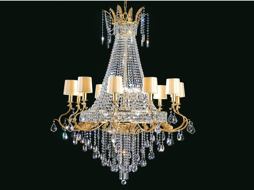 Direct light incandescent brass chandelier with crystals IMPERO VE 800 | Chandelier by Masiero