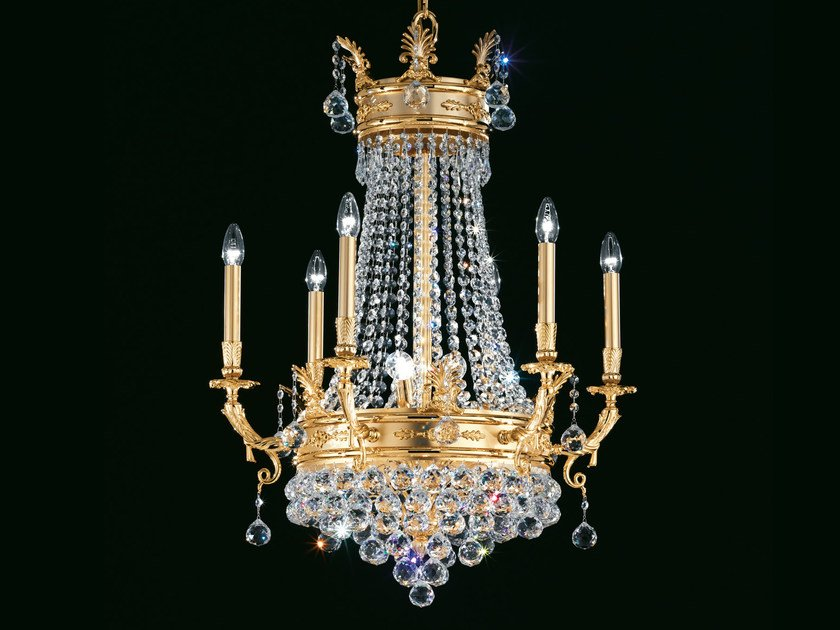 Direct light incandescent brass chandelier with crystals IMPERO VE 804 | Chandelier by Masiero