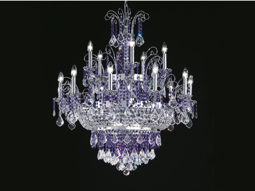 Direct light incandescent metal chandelier with crystals IMPERO VE 806 | Chandelier by Masiero