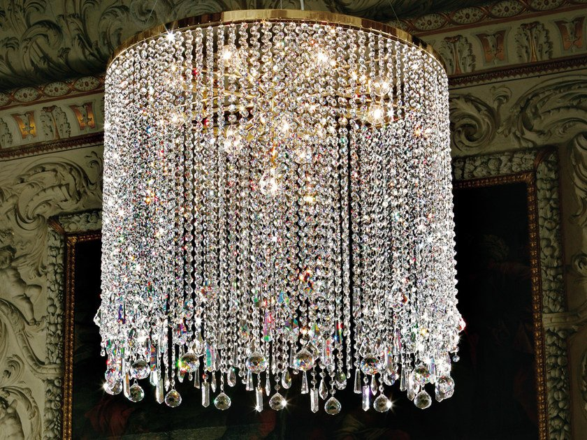 Direct light incandescent metal pendant lamp with crystals IMPERO VE 812 | Pendant lamp by Masiero