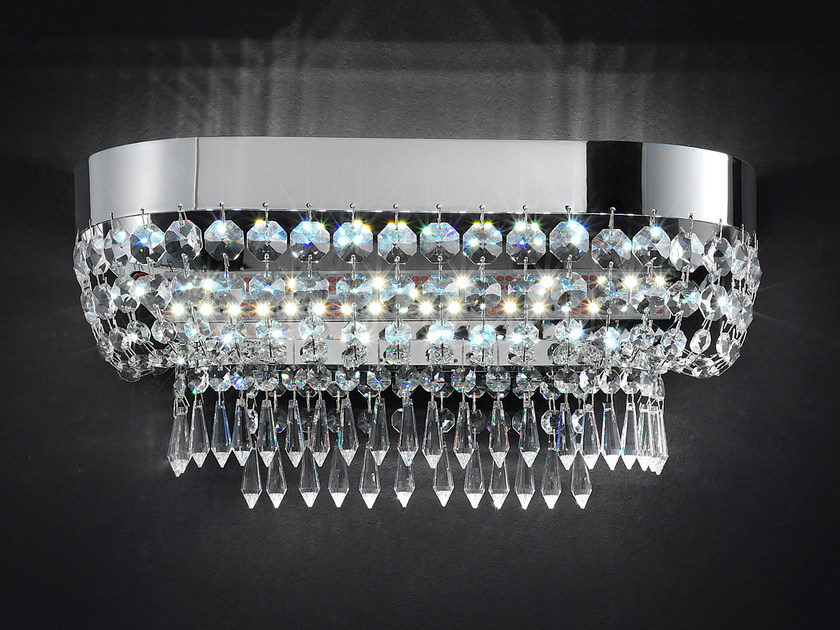 Direct light metal wall light with crystals IMPERO VE 813 | Wall light by Masiero