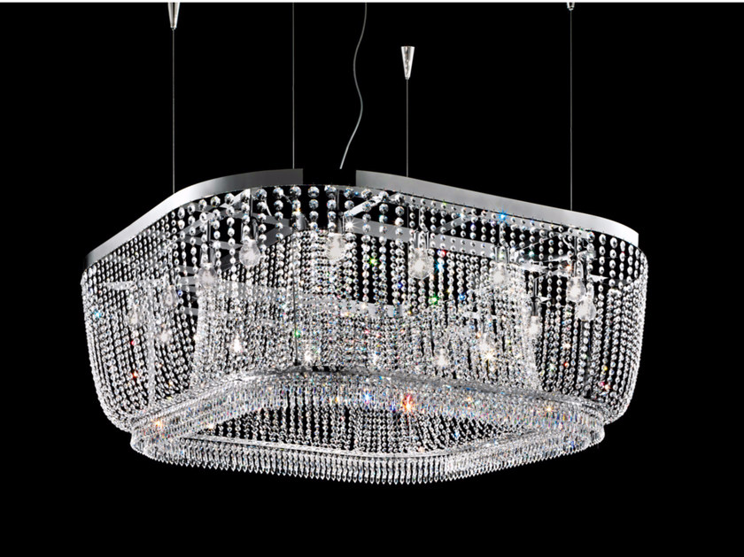Direct light incandescent chrome plated pendant lamp with crystals IMPERO VE 813 | Pendant lamp by Masiero