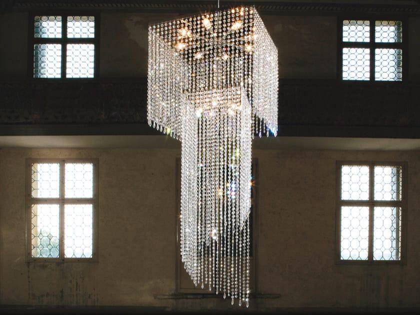 Lampada a sospensione a luce diretta incandescente in metallo cromato con cristalli IMPERO VE 814 | Lampada a sospensione by Masiero