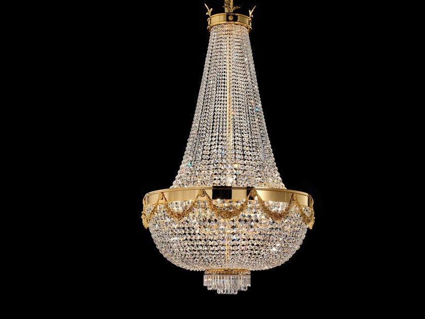 Direct light incandescent metal pendant lamp with crystals IMPERO VE 818 | Pendant lamp by Masiero