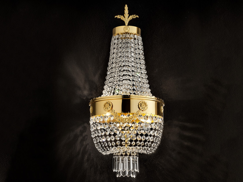 Direct light incandescent metal wall light with crystals IMPERO VE 818 | Wall light by Masiero