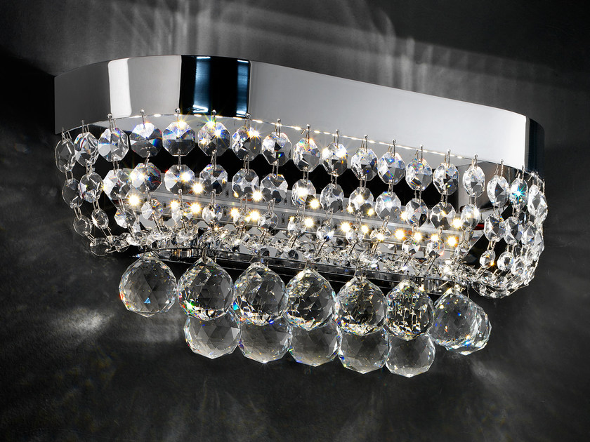 LED direct light chrome plated wall light with crystals IMPERO VE 819 | Wall light by Masiero