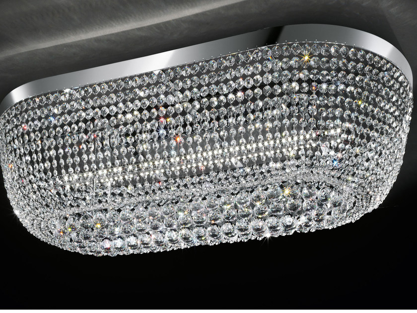LED direct light chrome plated ceiling lamp with crystals IMPERO VE 819 | Ceiling lamp by Masiero