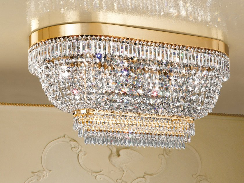 Direct light incandescent chrome plated ceiling lamp with crystals IMPERO VE 820 by Masiero
