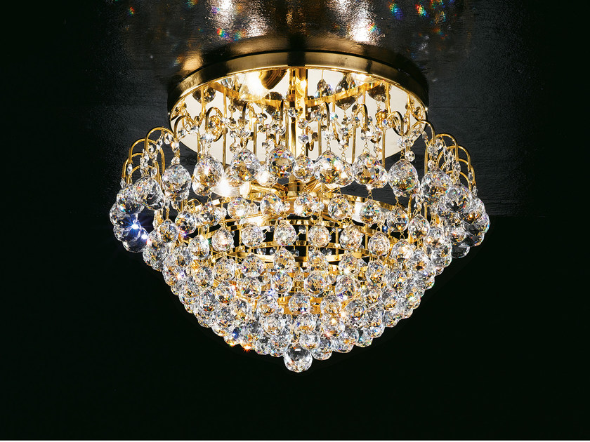Direct light incandescent brass ceiling lamp with crystals IMPERO VE 822 | Ceiling lamp by Masiero