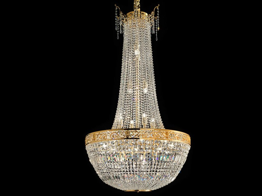 Direct light incandescent brass pendant lamp with crystals IMPERO VE 823 | Pendant lamp by Masiero