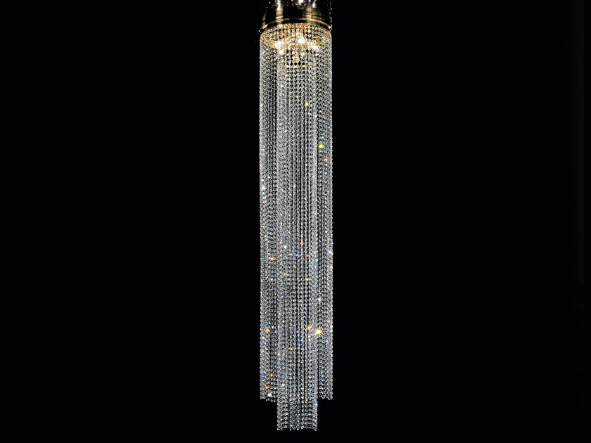 Direct light incandescent brass pendant lamp with crystals IMPERO VE 824 by Masiero