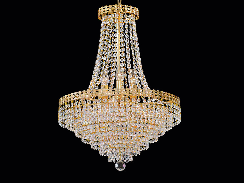 Direct light incandescent brass pendant lamp with crystals IMPERO VE 826 by Masiero