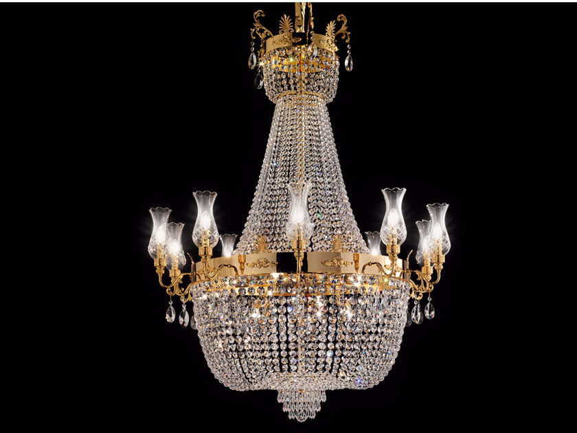 Direct light incandescent brass chandelier with crystals IMPERO VE 827 | Pendant lamp by Masiero