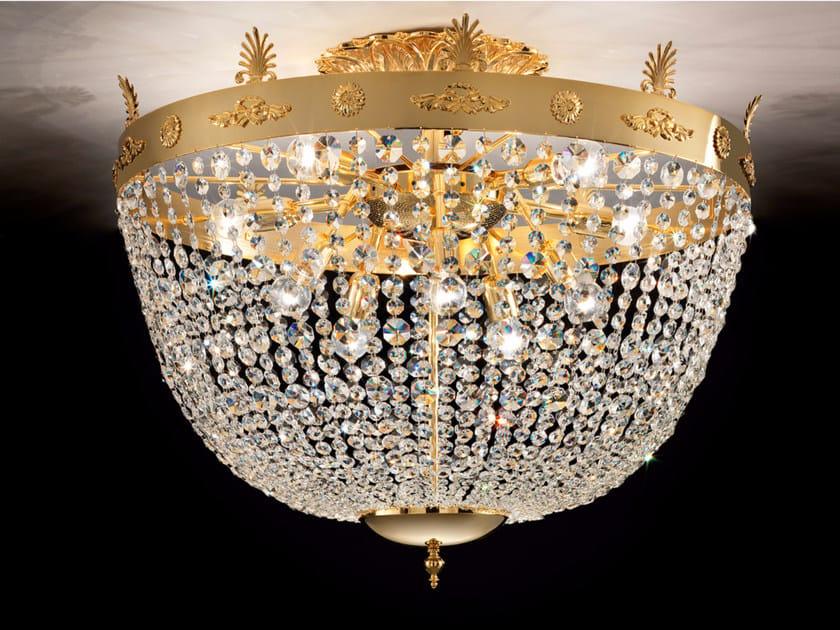Lampada da soffitto a luce diretta incandescente in ottone con cristalli IMPERO VE 827 | Lampada da soffitto by Masiero