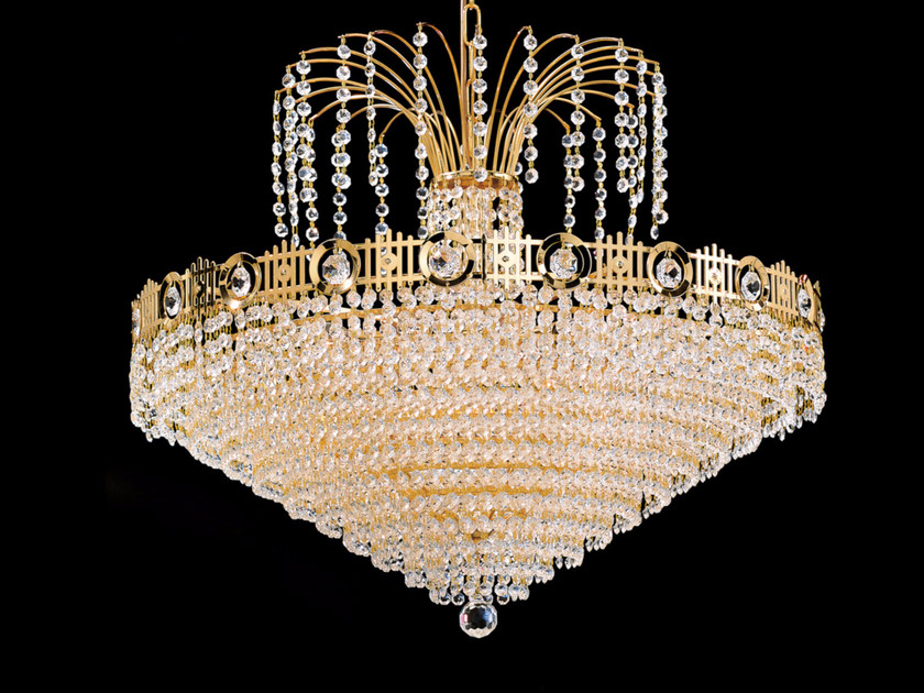 Direct light incandescent brass chandelier with crystals IMPERO VE 828 by Masiero