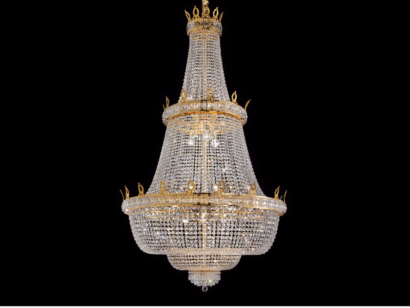 Direct light incandescent brass chandelier with crystals IMPERO VE 829 | Pendant lamp by Masiero