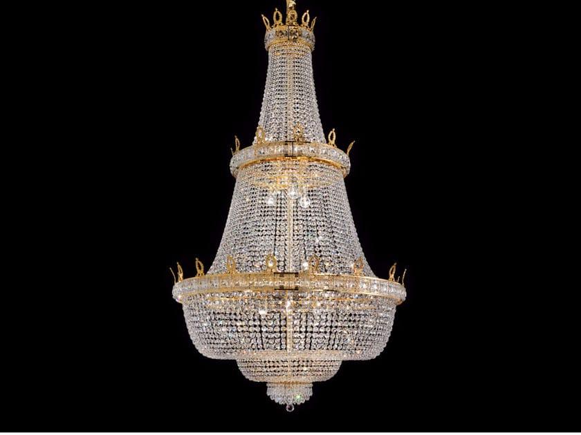 Lampadario a luce diretta incandescente in ottone con cristalli IMPERO VE 829 | Lampada a sospensione by Masiero