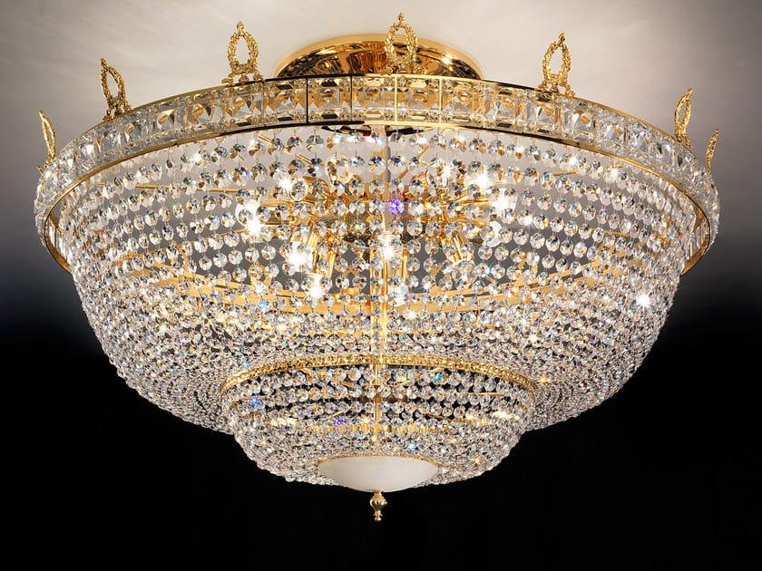 Lampada da soffitto incandescente in ottone con cristalli IMPERO & DECO VE 829 PL by Masiero