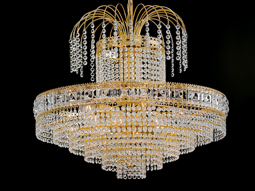 Direct light incandescent brass chandelier with crystals IMPERO VE 830 | Pendant lamp by Masiero