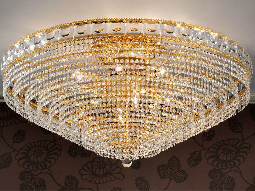 Direct light incandescent brass ceiling lamp with crystals IMPERO VE 830 | Ceiling lamp by Masiero
