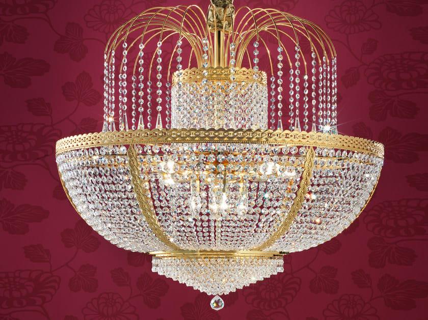 Lampadario a luce diretta incandescente in ottone con cristalli IMPERO VE 831 | Lampada a sospensione by Masiero