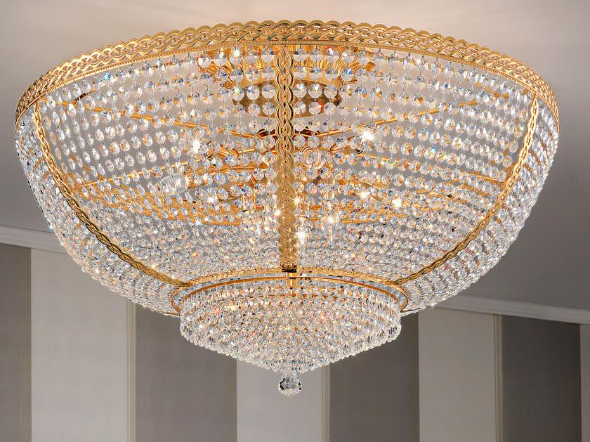 Lampada da soffitto incandescente in ottone con cristalli IMPERO & DECO VE 831 by Masiero