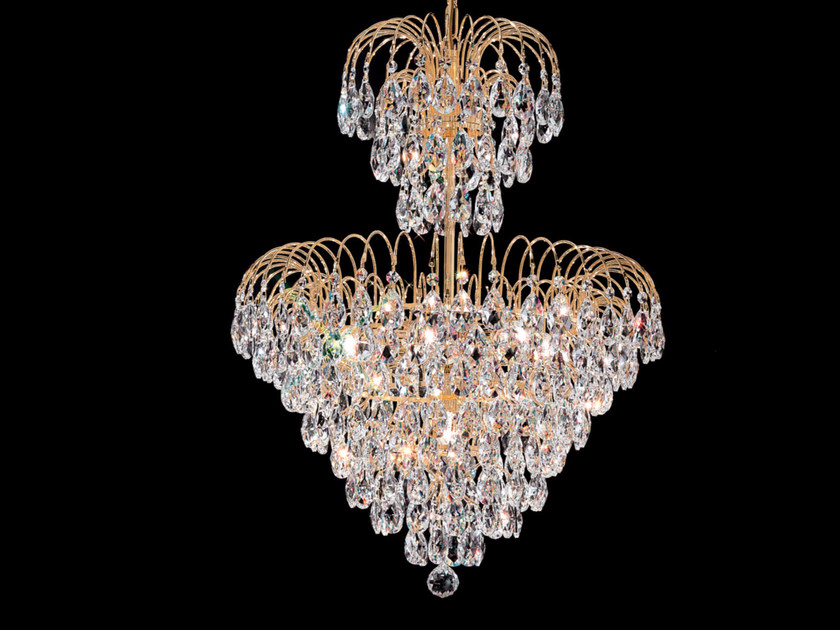 Direct light incandescent metal pendant lamp with crystals IMPERO VE 834 by Masiero