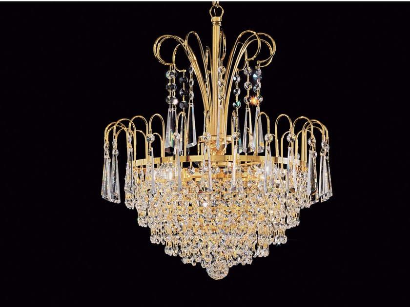 Lampada a sospensione a luce diretta incandescente in ottone con cristalli IMPERO VE 838 by Masiero