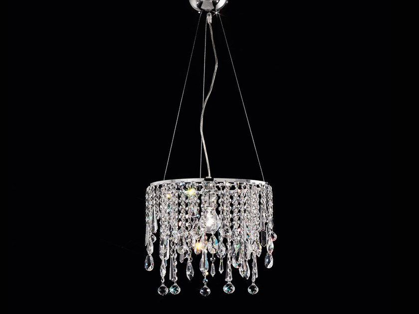 Direct light incandescent metal pendant lamp with crystals IMPERO VE 842 by Masiero