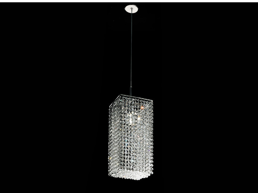 Classic style direct light incandescent metal pendant lamp with crystals IMPERO VE 848 by Masiero
