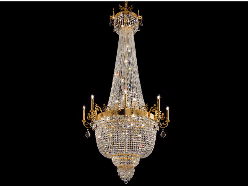 Direct light incandescent pendant lamp with crystals IMPERO VE 849 | Pendant lamp by Masiero